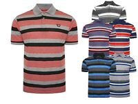 New Mens Stripe Polo Short Sleeve T-shirts GOLF Sports Classic Collared Tee Tops