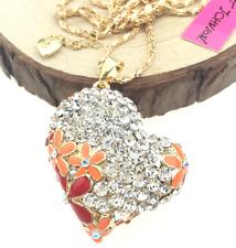 Pendant Betsey Johnson Jewelry Rhinestone Women Charm Heart Gold Chain Necklaces