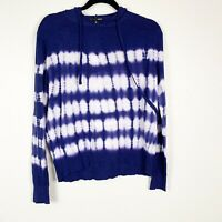 Aqua Women's Lightweight Knit Tie Dye Pullover With Hood Blue/white Size L NWT
