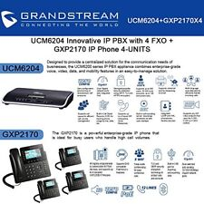 Grandstream UCM6204 IP PBX with 4 FXO + GXP2170 4-UNITS IP Phone New