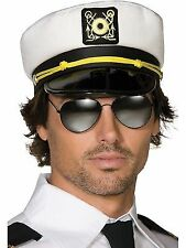 Sea Captain Satin White Hat Cap Sailor Hat Boat Stag Party Dress up Fancy Dress