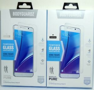 Lot of (2) BodyGuardz Premium Tempered Glass Screen Protector for Galaxy Note 5