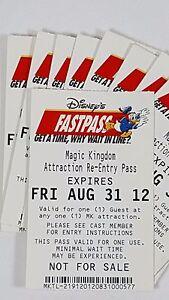 Disney FASTPASS Walt Disney World Fast Pass Ticket MK ATTRACTION RE-ENTRY PASS