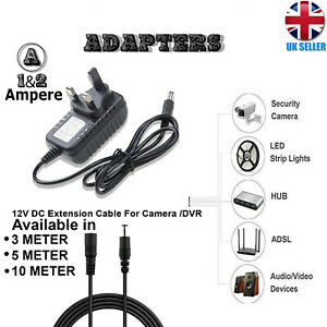 12V 1A 2A AC/DC UK Power Supply Adapter Safety Charger For LED Strip CCTV Camera