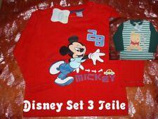 3 Teile Disney Mickey Maus Winnie Pooh Jungen Baby Set langarm Shirt Gr. 74 NEU
