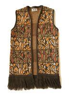 Vtg MacPerth Wool Sweater Vest Womens Size S 60s 70s Fringe Hippie Boho Festival