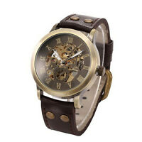 2015 Neu Herren Steampunk Bronze Skelettiert Auto Mechanisch Leder Armbanduhr