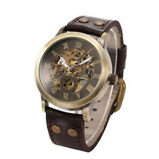 2015 New Men Steampunk Bronze Skeleton Auto Mechanical Leather Wrist Watch Elega
