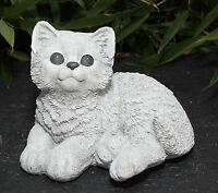 Steinfigur Katze sitzend Steinguss Antik-Weiss Gartenfigur Deko frostfest