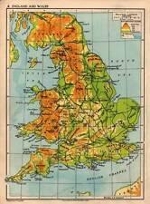 England and Wales 1938 Original Antique Colour Map
