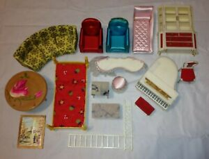 IDEAL Petite Princess Doll House Furniture Lot Grand Piano Couch Chair Dresser +