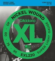 D'Addario Nickel Wound Bass Guitar Strings, Super Light, 40-95, Long Scale