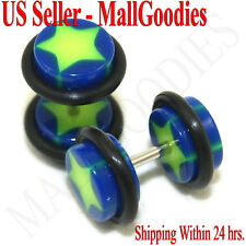 0843 Fake Cheaters Illusion Faux Ear Plugs 16G Bar Look Like 0G Blue Green Star