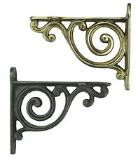 Pair Small Bathroom Scroll Shelf Brackets - Antique Brass or Cast Iron Bracket