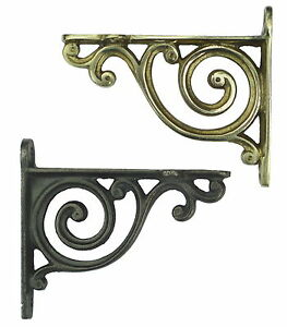 Pair Small Bathroom Shelf Brackets - Antique Scroll Bracket [Brass or Cast Iron]
