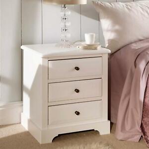 Solid Wood Bedside Lamp Table Cabinet 3 Drawer Bedroom Storage Unit Seconds