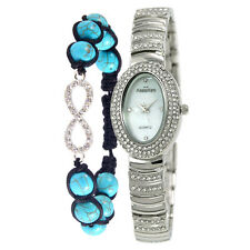 Alias Kim Silver Crystal Oval Case White Face Women Watch + Wrist Bracelet Set