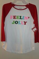 "NEW Holiday Time Women's Raglan Tee ""Feelin' Jolly"" Shirt White/Red"