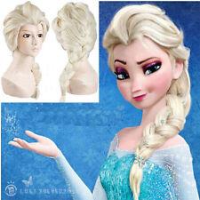 Eiskoenigin Frozen Prinzessin Elsa Gold Lang Haar Zopf Cosplay Kostüm Perücken