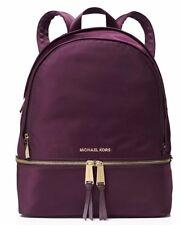NWT MICHAEL Michael Kors NYLON RHEA ZIP Large Backpack Bag In DAMSON Plum $228