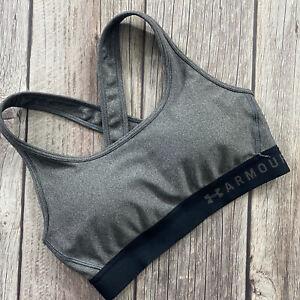 Under Armour Womens Size S Crossback Padded Black Grey Sports Bra