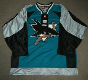 NWT Vtg San Jose Sharks Nike AUTHENTIC Hockey Jersey Sz 48