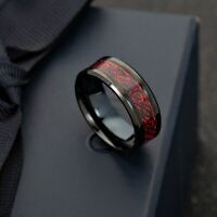 Fashion Classic Jewelry Stainless Steel Dragon Pattern Glow Men Ring Size 5-13