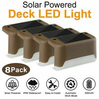 8pcs Solar Powered LED Deck Lights Outdoor Path Garden Stairs Step Fence Lamp
