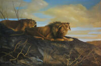 Ölgemälde Löwen signiert UNGEWITTER 1926