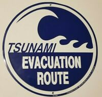 TSUNAMI EVACUATION ROUTE Wave Round Blue Decorative Street Road Sign looks new