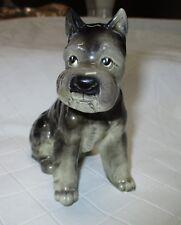 "Vintage 50s gray schnauzer dog mid-century porcelain figurine #1817 4.5"""