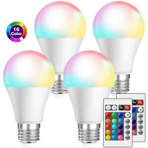 10/4/1X RGB LED Light Bulbs E27 Multi Colour Changing IR Remote Controlled Lamps