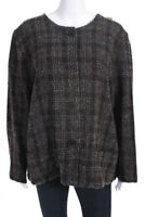 Lilith Womens Tweed Long Sleeve Button Up Jacket Brown Size M
