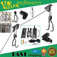 Bike Bicycle Lift Ceiling Mounted Hoist Storage Garage Hanger Pulley Rack USA