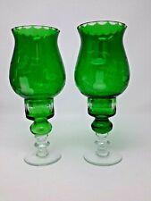 Czech Bohemian Emerald Cut to Clear Glass Hurricane Candle Holders Set of 2