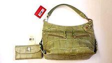 NWT Dooney& Bourke Croco Cinzia Pistachio Shoulder Bag & Wallet Set
