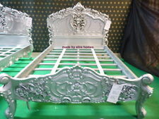 """UK STOCK Double size 4'6""""  Silver / Grey French style designer  Rococo Bedframe"""