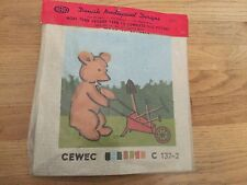 vintage needlepoint kit Hero CEWEC Danish Teddy Bear with Wheelbarrow unopened