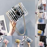 Women PVC Clear Chain Crossbody Bag Tote Transparent Shoulder Handbag Purse UK