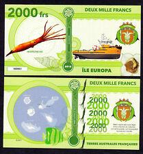 RARE ★ ILE EUROPA ● TAAF / COLONIE ● BILLET POLYMER 2000 FRANCS ★ N.SERIE 000004
