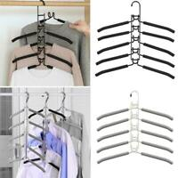 New 5 In 1 Multi-Layer Clothes Hangers Space-Saving Non-Slip Hanger For War Y8X1