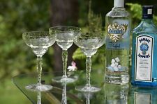 Vintage Etched Cocktail Martini Glasses, Set of 6, Vintage Champagne Coupes