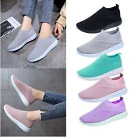 Women Fashion Air Cushion Sneakers Breathable Mesh Walking Slip-On Running Shoes