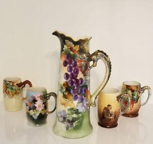 """Huge 15"""" Limoges France Porcelain Tankard Pitcher & 4 Cups w/ Dragon Handle"""