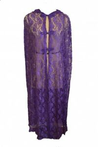Dark Star Cape Long Lace Purple. Hand Holes and Frog Fastenings