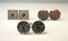 Cuff Links Hickok & Swank * Silver Tone 3 Piece Lot Of Various