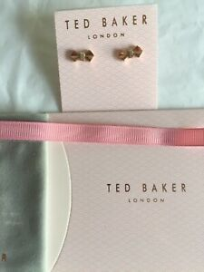 TED BAKER EARRING CRYSTAL SOLITAIRE BOW SUSLI STUD  ROSE GOLD TONE/