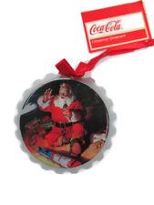 "Coca-Cola 3"" wooden Bottle cap ornament ""Santa by Toy Train"" - BRAND NEW"