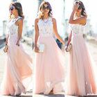 Damen Spitze Abendkleider Sommer Maxikleid Bodenlang Party Hochzeit Kleider Pink