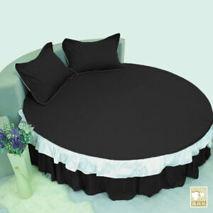 1 Piece Egyptian Cotton Stripe Ruffle Round Bed Skirt with 15 Inch Drop